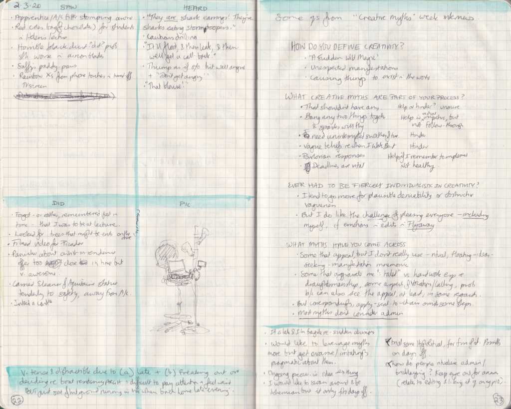 Double page of observation journal, densely handwritten. On the left, 5 things seen, heard, and done that day. On the right, handwritten answers to questions about creativity.