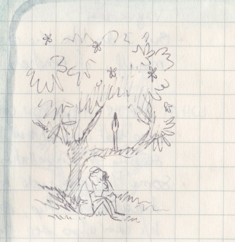 A pen drawing of a man sitting on the grass, talking into a phone, while from a branch above him an ibis looks down.