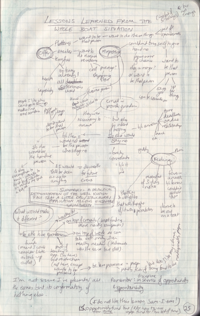 A mind-map (in very tiny writing) of lessons learned