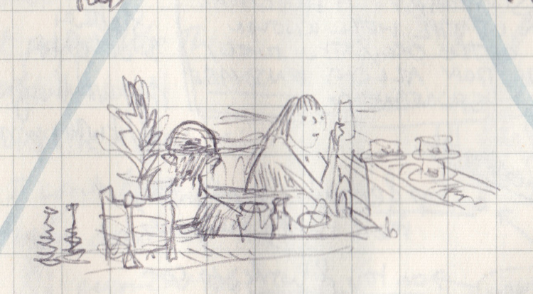 Pen drawing of girl taking a photo of sushi going past