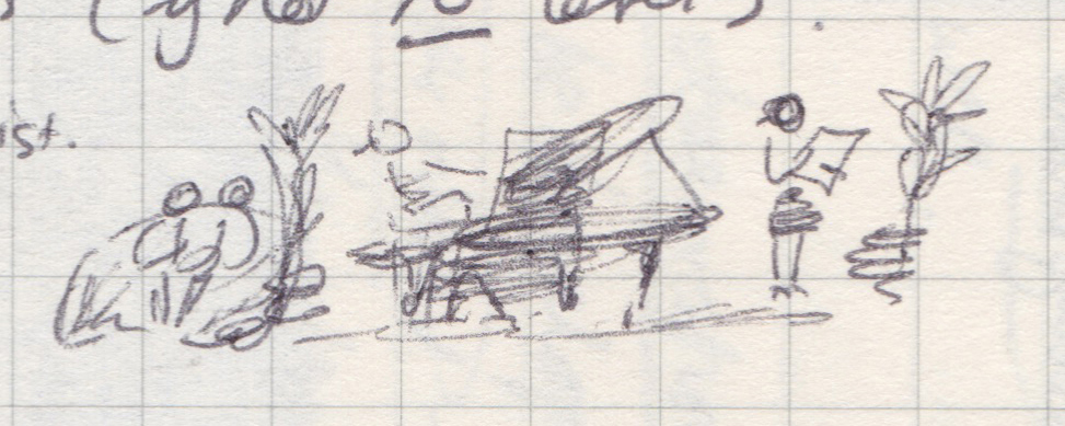 Very small pen drawing of a pianist in a hotel lobby.
