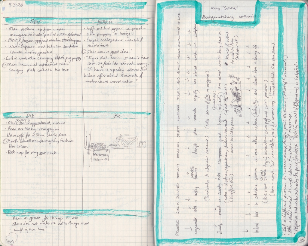 "Double page of observation journal, densely handwritten. On the left, 5 things seen, heard, and done that day. On the right, a ""bodysnatching"" exercise."
