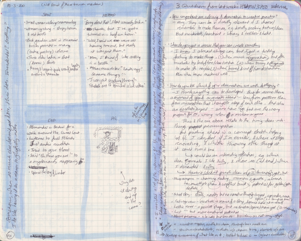 Double-spread from the observation journal. Two densely hand-written pages. On the left, a page with five things each that I had seen, heard and done, with a picture. On the right, answers to some questions about creative process.