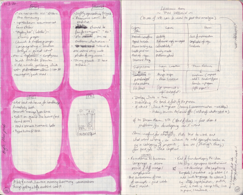 Double-page spread of observation journal, densely hand-written. On the left, five things seen/heard/done and a picture. On the left, notes on the Value Proposition Canvas.