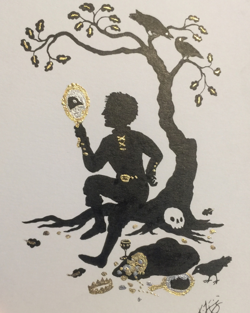 Brush-and-ink and imitation-gold-leaf illustration of a thief sitting on a tree root and looking into an enchanted mirror.