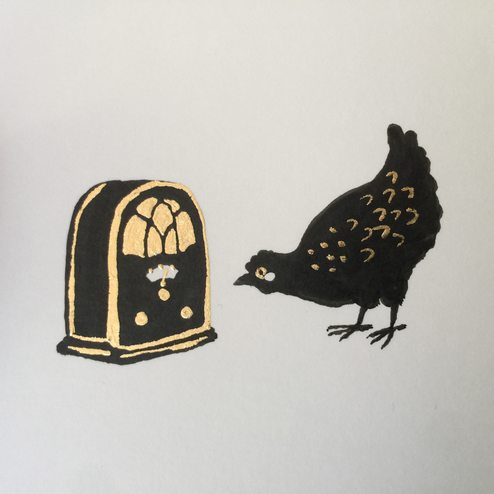 Brush-and-ink and imitation-gold-leaf illustration of a hen looking at a radio.