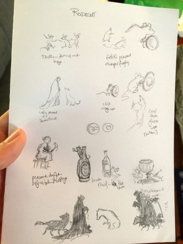 Sketches for possible illustrations.