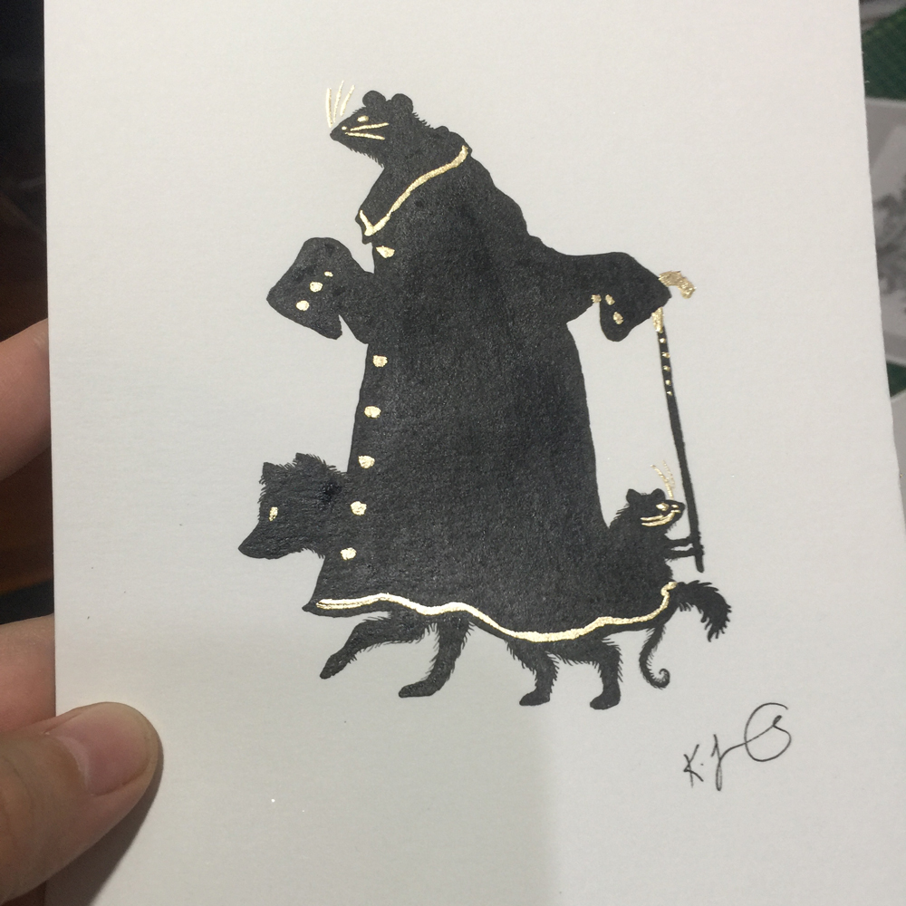 Brush-and-ink and imitation-gold-leaf illustration of rats in a coat riding on the back of a wolf and pretending to be human.