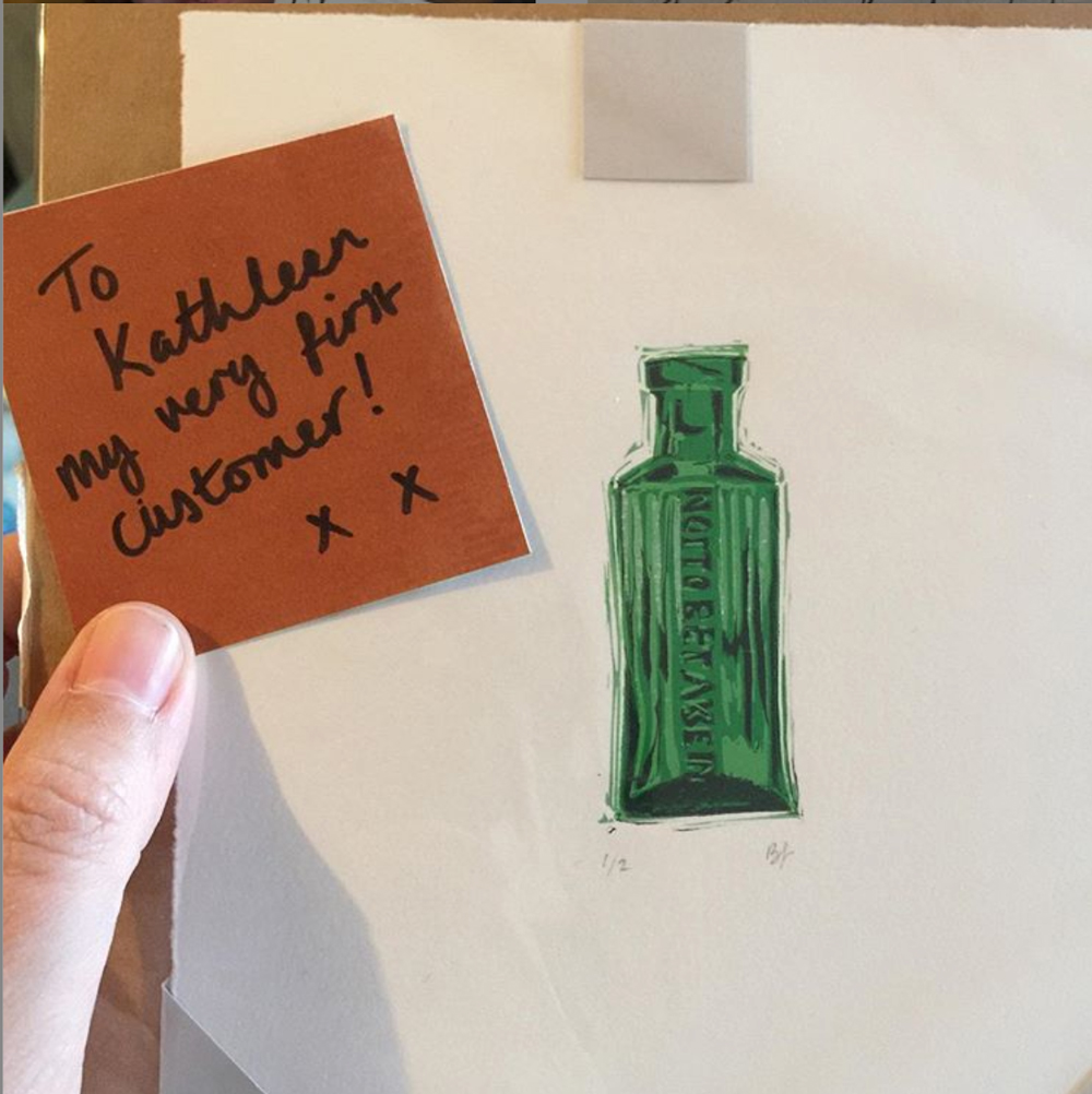 """Small reduction linoprint of a green bottle labelled """"not to be taken"""""""