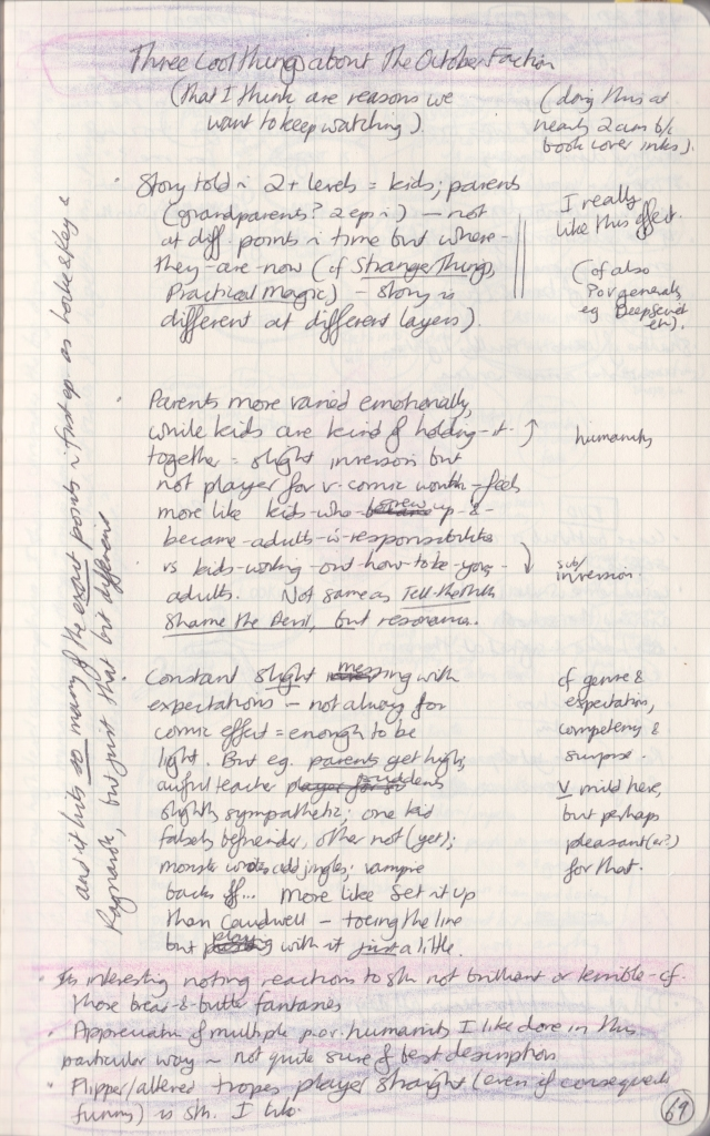 Densely handwritten notes about The October Faction.