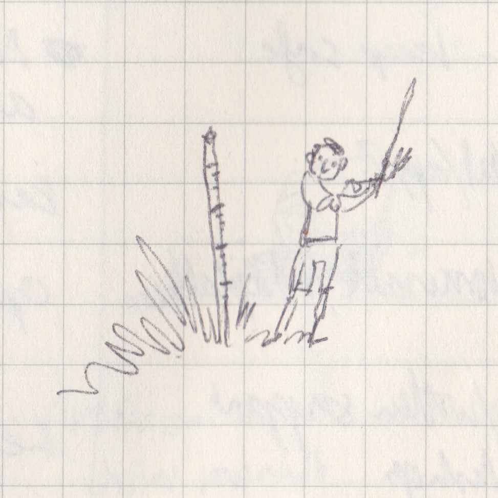 Tiny pen drawing of a boy about to hit a water depth post with a stick.