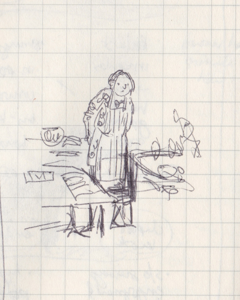 Tiny pen drawing of myself in the kitchen