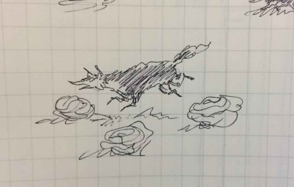 Tiny pen sketch of a fox among cabbages