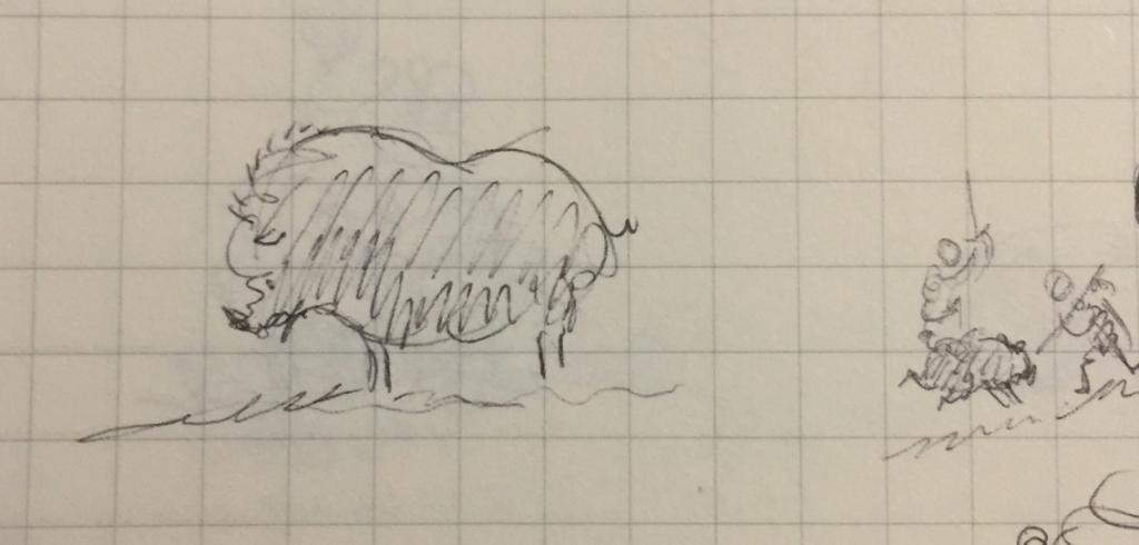Tiny pen sketch of a boar
