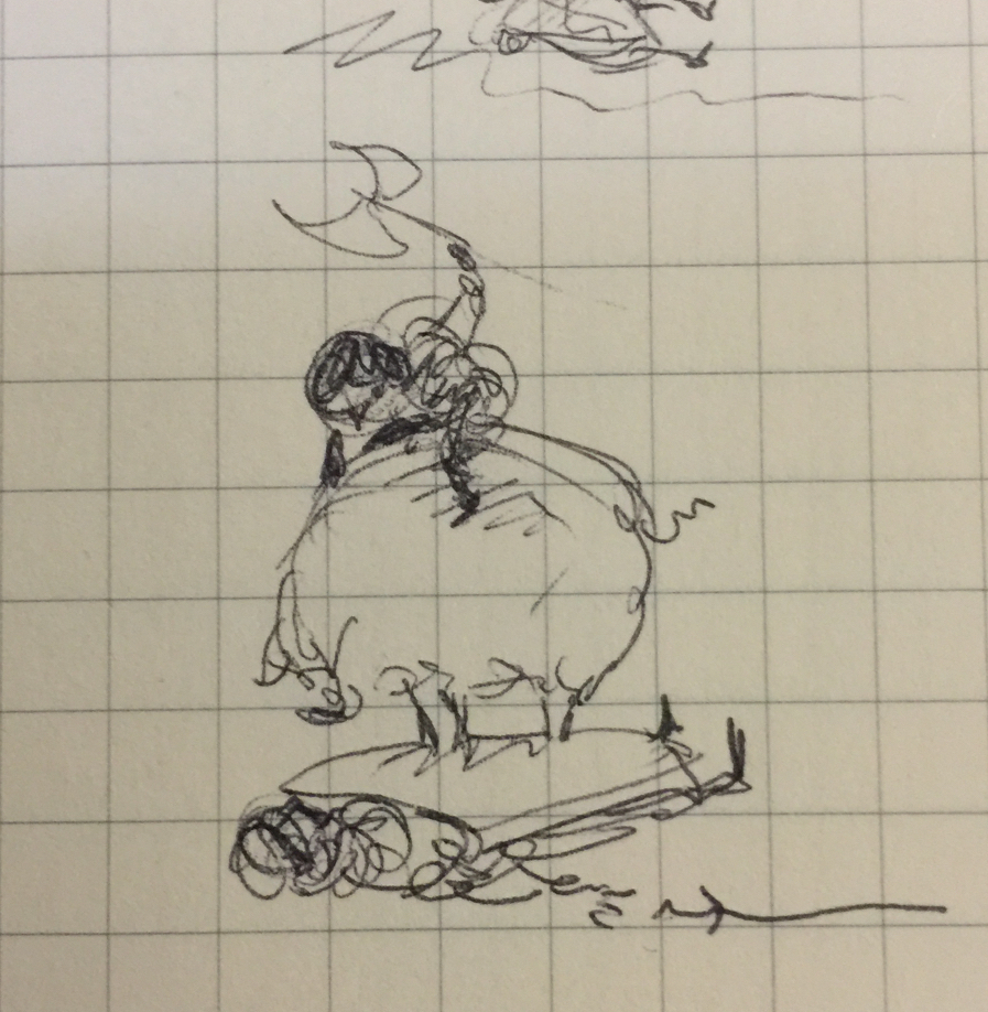 Tiny pen sketch of a person with an axe on a large pig which is standing on a shield on top of a prostrate guard