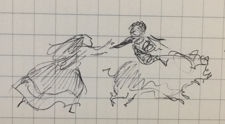 Tiny pen sketch of a person on a galloping pig reaching to catch the hands of a running girl in a dress