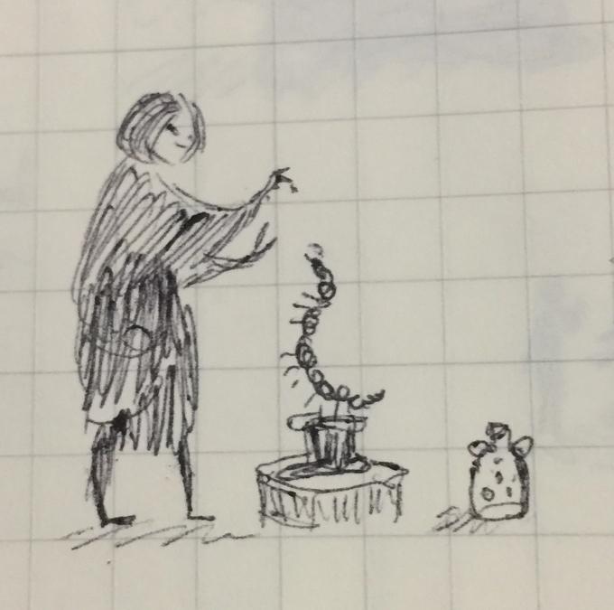 Tiny pen sketch of a figure training a centipede