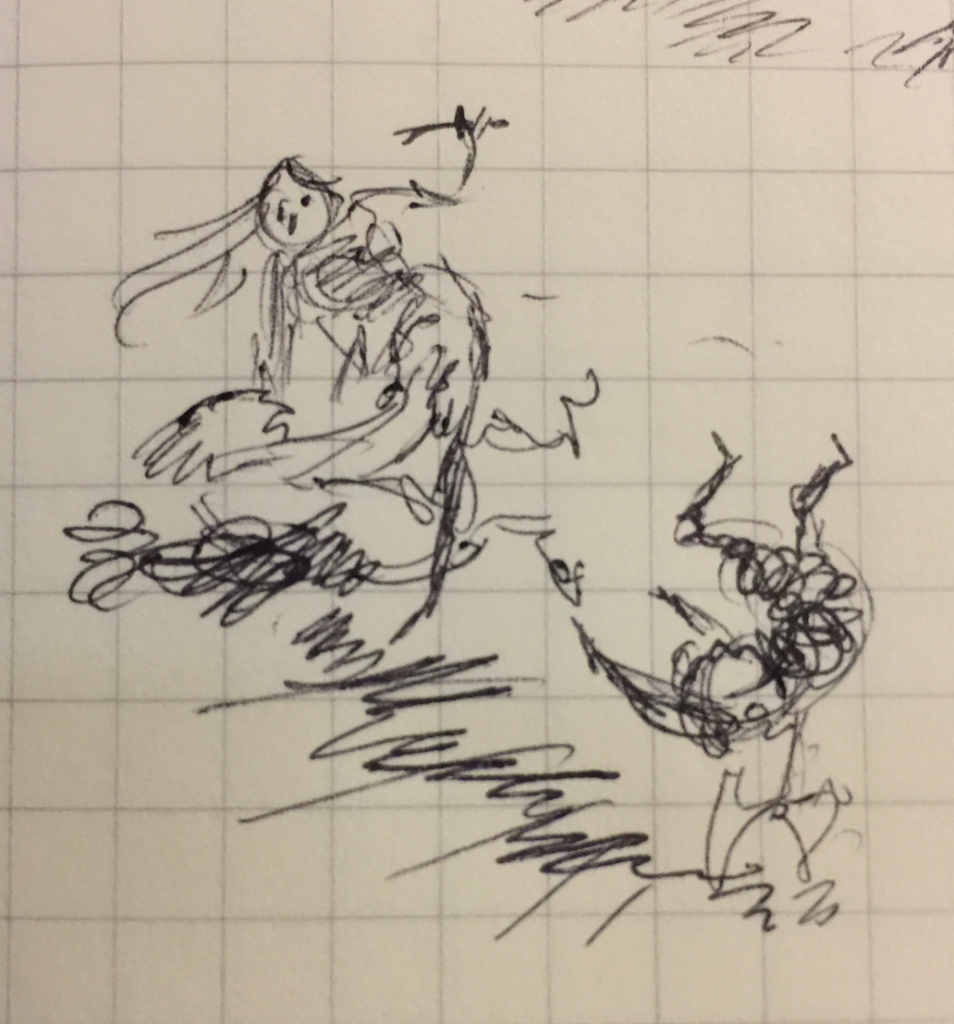 Tiny pen sketch of a stairway fight