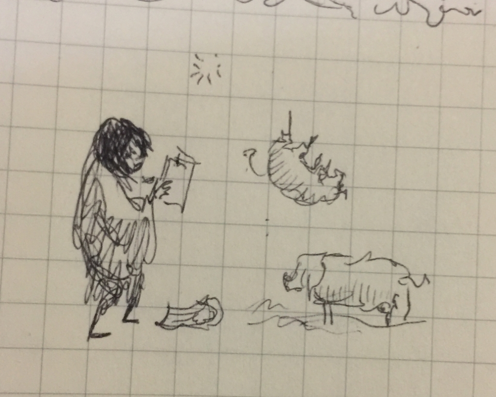Tiny pen sketch of magically summoning pigs