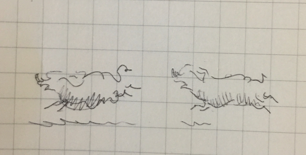 Tiny pen sketch of two pigs running