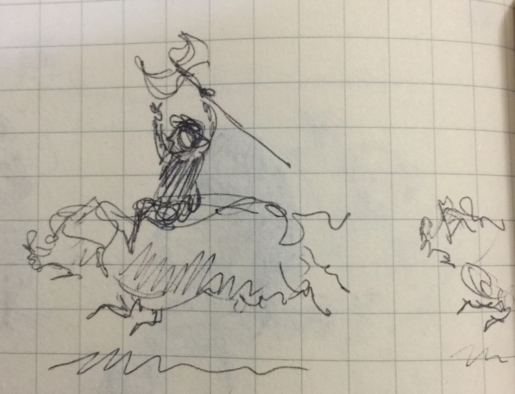 Tiny pen sketch of a person with an axe riding a large pig