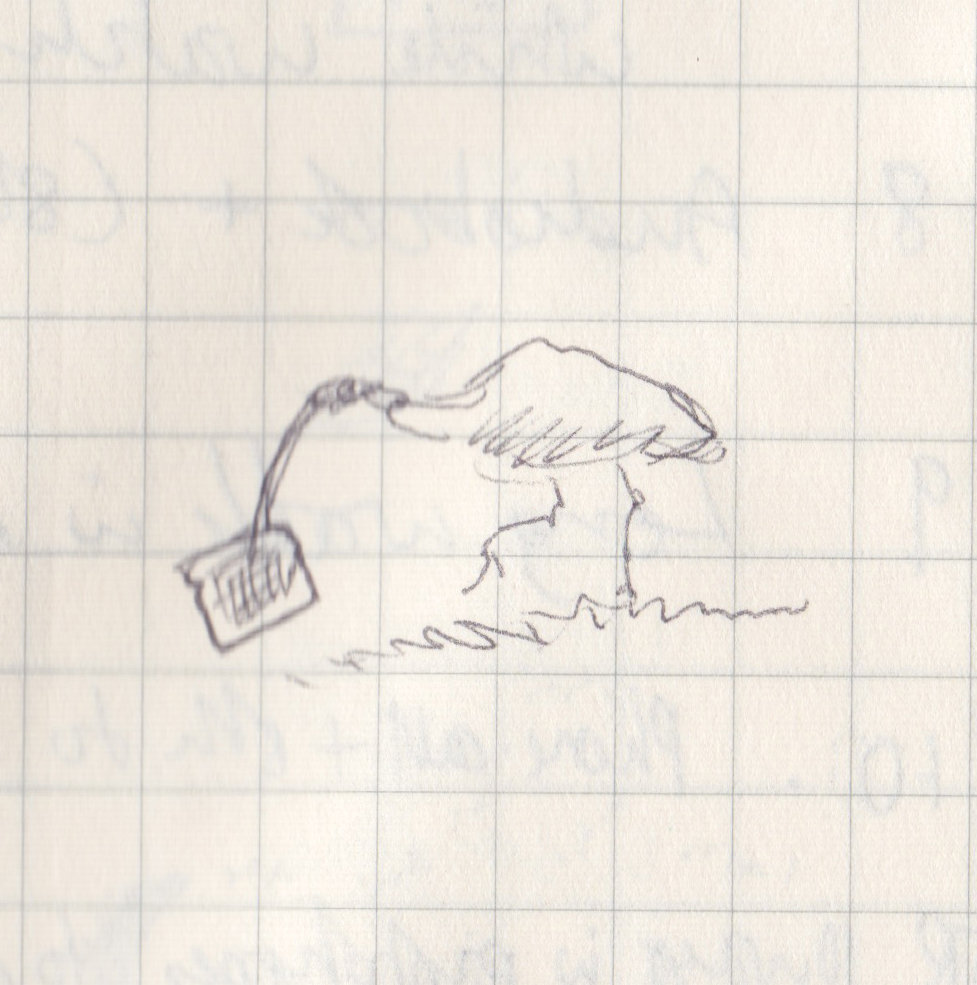 A very small pen drawing of an ibis running off with a slice of bread.