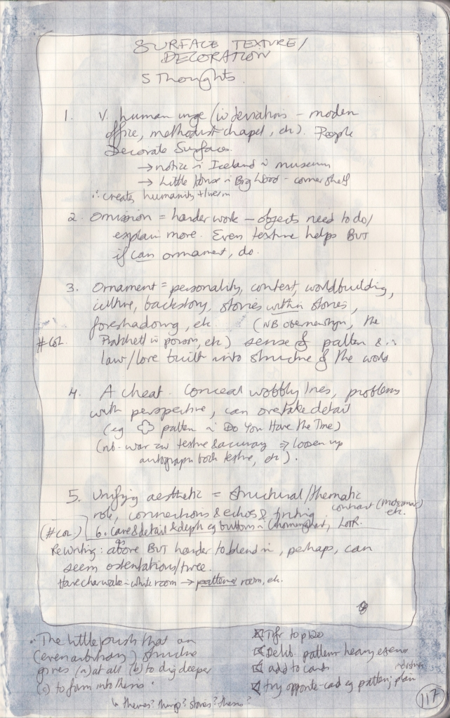 Close-up of the right-hand page of the observation journal, with handwritten thoughts on surface texture/decoration.