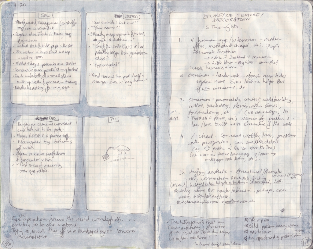 Two pages from observation journal. The first has five things seen, heard, and done, and a drawing of an ibis. The other has thoughts on surface texture and decoration.