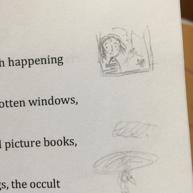 Pencil sketch of passenger looking out a train window, over cut-off text.