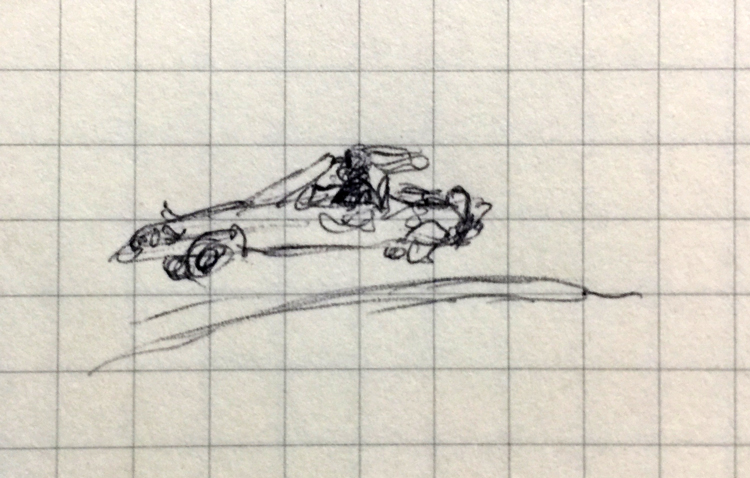 Tiny pen drawing of a fast car
