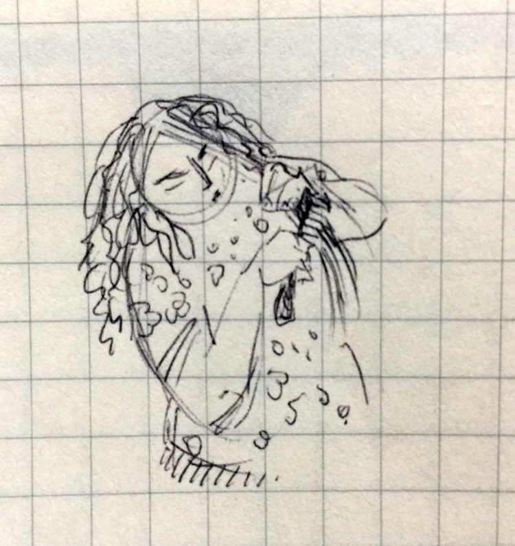 Tiny pen drawing of a girl combing her hair