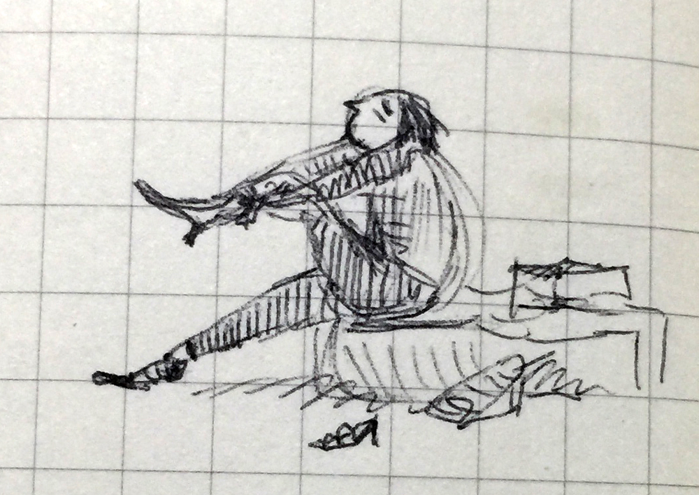 Small pen drawing of a person trying on boots (with difficulty).
