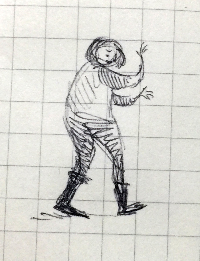 Small pen drawing of a person happily clomping around in large flat boots.