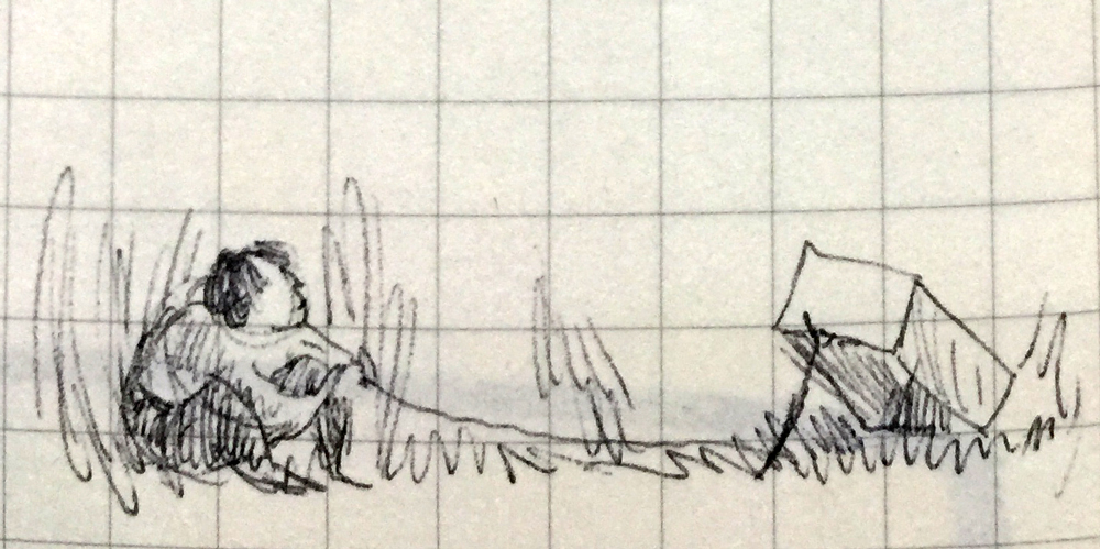 Drawing of a person crouched in grass, holding a string attached to a forked stick holding up a cardboard box trap.