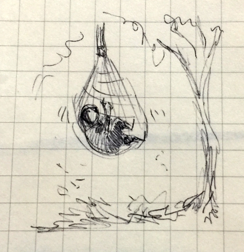 Drawing of a person caught in a net trap.