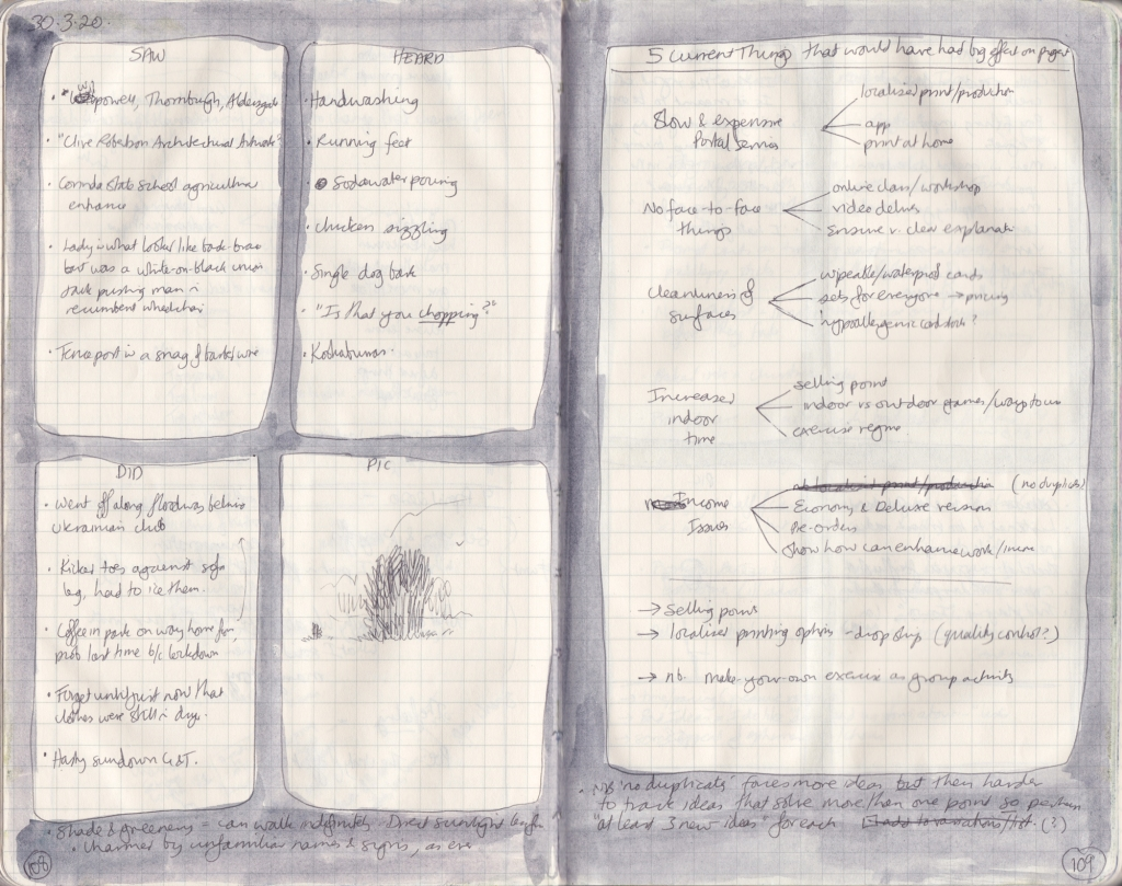 "Scan of a double page of the observation journal, handwritten. On the left, five things seen, heard and done, and a picture of a tree. On the right, a tree diagram of ""5 current things that would have had a big effect on the project""."
