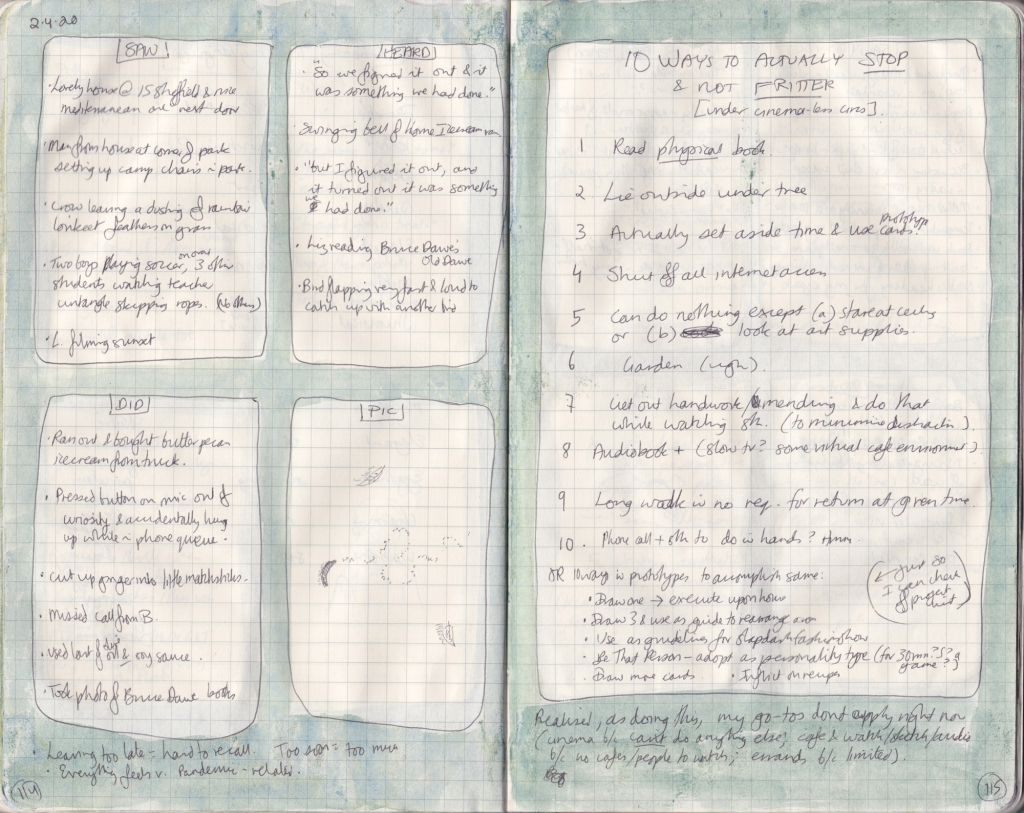 Scan of two handwritten journal pages. On the left are five things seen, heard, and done, and a drawing of a slug trail. On the right is a list of thoughts about how not to fritter away time.