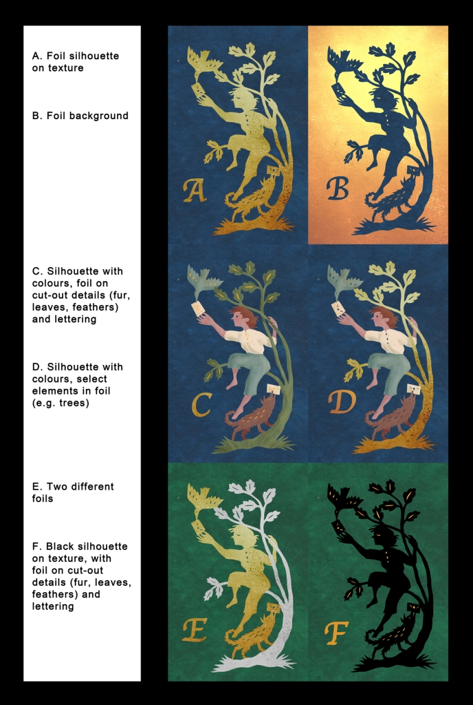 6 variations of a silhouette illustration of a girl sitting in a tree, receiving mail from a dog on the ground and delivering it to a bird in the air. Some are coloured, some have gold elements.