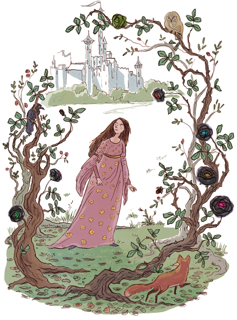 Illustration in pen and ink with digital colour of a girl in a pink gown walking into a thicket of improbable roses, watched by a fox. A castle is in the background.