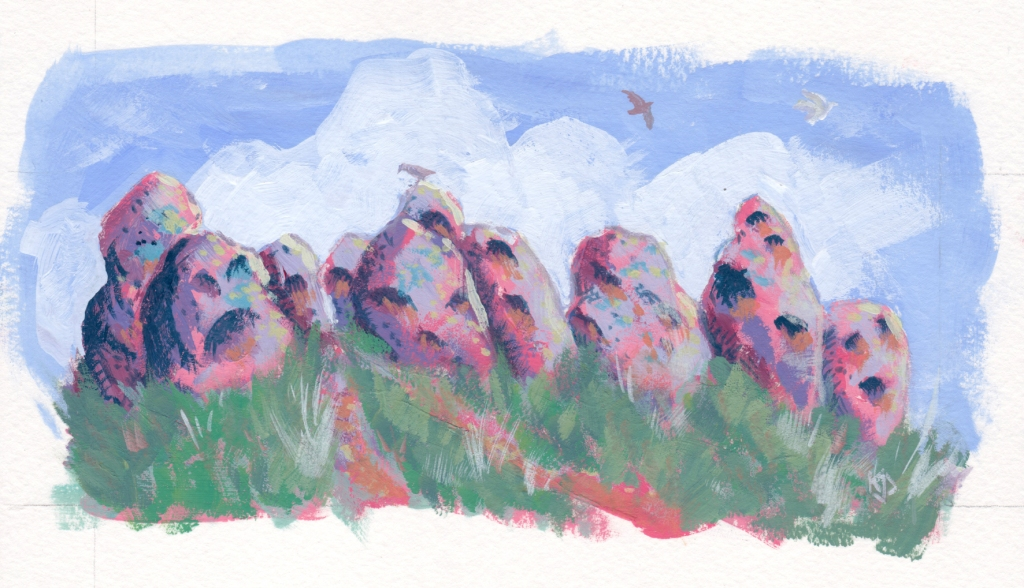 Gouache painting in pinks, purples, blues, and greens, of standing boulders, grass, birds flying against clouds