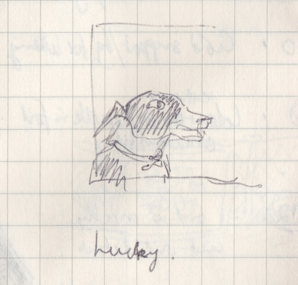 Very small drawing of a dog, with Lucky written underneath.