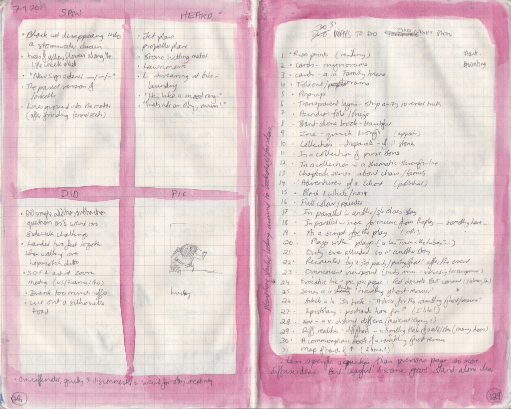 Scan of a handwritten observation journal spread. Left page has five things seen, heard, and done, and a picture. The right page has a list of 31 ways to deal with a story.