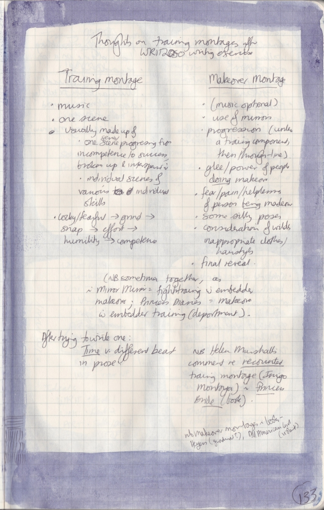 Handwritten page listing differences between training and makeover montages, e.g. music, number of scenes, the progression, who is in or gaining control