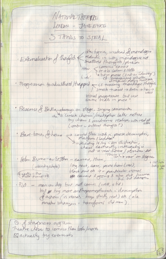 """Handwritten observation journal page with a list of 5 (actually 6) things to """"steal"""" from Jane Eyre, with very tiny notes and elaborations."""