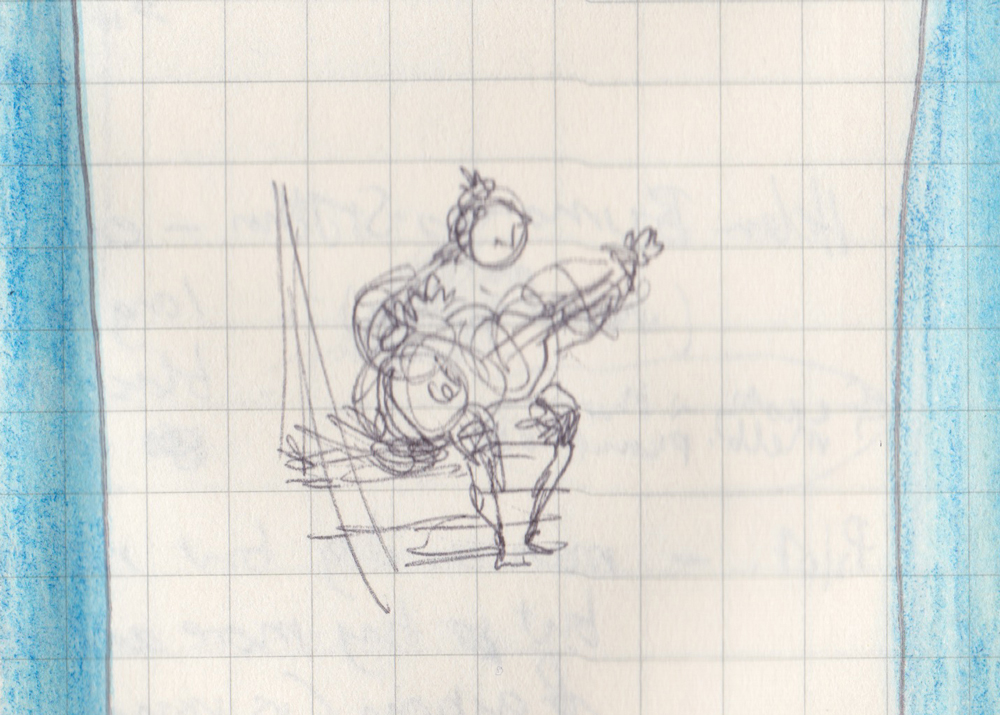 Pen sketch of person sitting on steps playing guitar