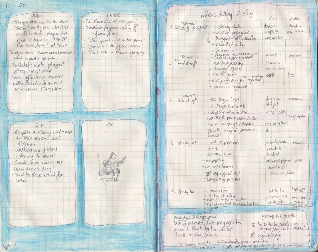 Double-page spread of observation journal. On left page, 5 things seen, heard, done and a picture. On the right, a hand-written table of thoughts on why I wasn't getting work done.