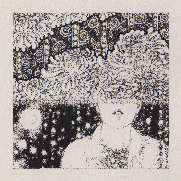 A largely pointillist ink drawing of a (woman?) in a collared shirt and pearls, face hidden from the nose up by a curtain of lace and beads.