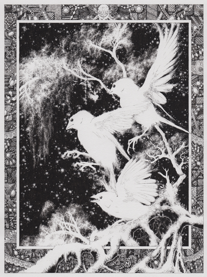 A black-and-white image. An ornate frame of (possibly) jewels surrounds three sparrrows landing on ghostly negative branches against a starry sky.