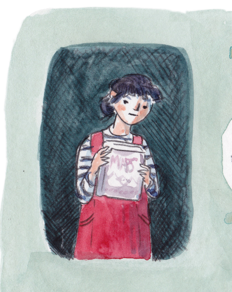 """Close up of a drawing/watercolour painting of a girl with short-fringed purple hair and a red pinafore over a stripey topy, holding a book that says """"MAPS"""""""