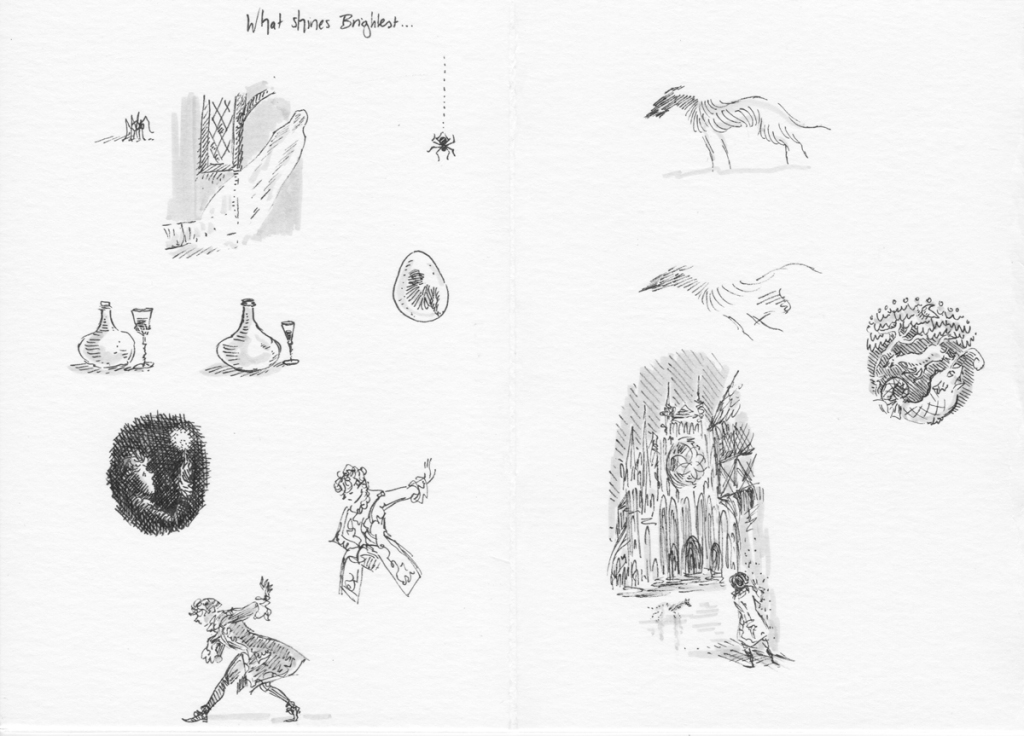 Page of black and white line sketches of wine, a boy bowing, ghostly dogs at a cathedral, etc.